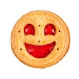 Rond koekje met geïsoleerde glimlach stock fotografie