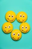 Rond koekje met het glimlachen gezicht Stock Afbeeldingen