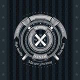 Rond Linten en Kabelkader met Dwarsvlaggen Overzees Uitstekend Etiket op Zwarte Royalty-vrije Stock Afbeelding