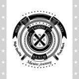 Rond Linten en Kabelkader met Dwarsvlaggen Overzees Uitstekend Zwart Geïsoleerd Etiket Royalty-vrije Stock Afbeelding
