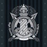Rond Lintkader met Vuurtoren en Twee Harpoenenkruis Overzees Uitstekend Etiket op Zwarte Royalty-vrije Stock Afbeelding