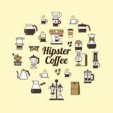 Rond ontwerpelement met Koffiepictogrammen Stock Afbeeldingen