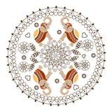 Rond Ornament met Mandala en Olifanten Royalty-vrije Stock Afbeeldingen