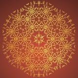 Rond Ornament, Oosters vectorpatroon met stammenelementen Traditioneel ornament Bruine en gouden kleuren Stock Afbeeldingen