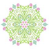 Rond ornamentpatroon met bloemenelementen Stock Afbeelding