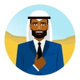 Rond pictogram met de glimlachende Arabische mens in kostuum vector illustratie