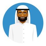 Rond pictogram met de glimlachende Arabische mens in traditionele moslimhoed vector illustratie