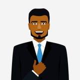 Rond pictogram met de glimlachende Arabische omhoog mens in kostuum en duim royalty-vrije illustratie