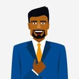 Rond pictogram met de glimlachende Arabische omhoog mens in kostuum en duim vector illustratie
