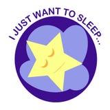 Rond pictogram met een slaapster op een wolk bij de middernachthemel Royalty-vrije Stock Foto