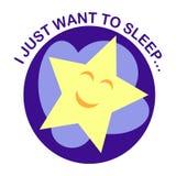 Rond pictogram met een slaapster op een wolk bij de nachthemel Stock Foto's