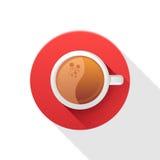 Rond pictogram met koffiekop Stock Afbeeldingen