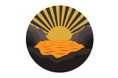 Rond pictogram met zonsondergang stock fotografie