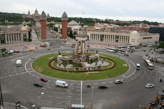 Rond point Barcelone de Placa de Espanya Photos stock