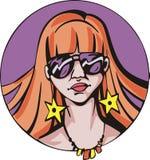 Rond portret van jonge leuke roodharigevrouw Royalty-vrije Stock Afbeeldingen