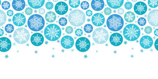 Rond Sneeuwvlokken Horizontaal Naadloos Patroon Royalty-vrije Stock Foto's