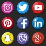 Rond sociaal media embleem of de sociale media reeks van het pictogrammalplaatje De sociale knoop van het netwerkweb Royalty-vrije Stock Fotografie