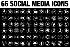 66 rond Sociaal Media Pictogrammenwit met tingrens Stock Afbeeldingen