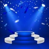 Rond stadiumpodium Stadium vectorachtergrond Feestelijke podiumscène met blauwe tapijt en confettien voor toekenningsceremonie Ve royalty-vrije illustratie