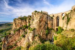 Ronda, Ισπανία στη γέφυρα Puento Nuevo Στοκ Φωτογραφία