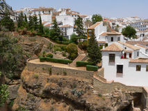 Ronda. White spanish buildings built on the cliffs edge at Ronda, Spain royalty free stock photos