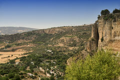 Ronda Andalucia, Spain. View of the historic city over the canyon Royalty Free Stock Photo