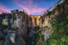 Ronda balkonu most Malaga Hiszpania obraz stock