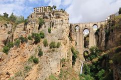 Ronda bridge, Andalusia, Spain. A view of the Ponte Nuevo, a bridge over the canyon in Ronda, Andalusia, Spain Stock Photos