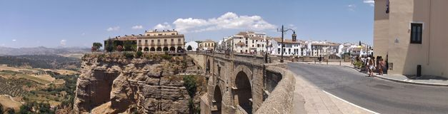 Ronda bridge and Hostel Panorama Royalty Free Stock Images