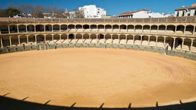 Ronda Bull Ring, Spain. View of the empty arena and seating of the bull ring in Ronda. Andalucia, Spain Royalty Free Stock Photos
