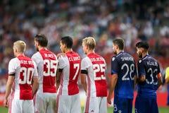 Ronda de calificación de la liga de campeones de UEFA tercera entre Ajax contra PAO Fotografía de archivo libre de regalías