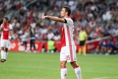 Ronda de calificación de la liga de campeones de UEFA tercera entre Ajax contra PAO Imagen de archivo libre de regalías