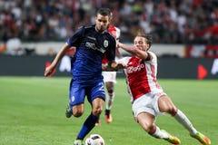 Ronda de calificación de la liga de campeones de UEFA tercera entre Ajax contra PAO Imágenes de archivo libres de regalías