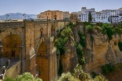 Ronda, Hiszpania przy Puente Nuevo mostem nad Tajo wąwozem Fotografia Stock