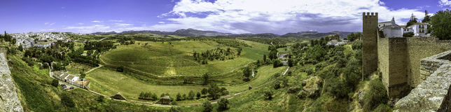 Ronda landscape panoramic view. Stock Photos