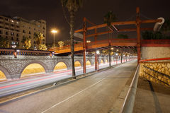 Ronda Litoral Freeway at Night in Barcelona Stock Photo