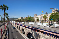 Ronda Litoral Motorway in Barcelona. Promenade along Ronda Litoral motorway, transport infrastructure in the city of Barcelona in Catalonia, Spain Royalty Free Stock Images
