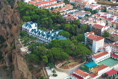 Ronda, Málaga, Spain. Airviews details. This town in the Málaga region sits on either side of the Tajo del Ronda, a narrow gorge more than 150 metres deep. Its Stock Image