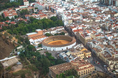 Ronda, Málaga, Spain. Bullring in foreground royalty free stock photo