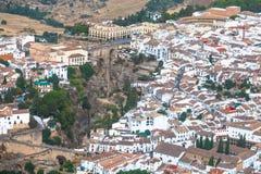 Ronda, MÃ ¡ laga, Hiszpania Widok z lotu ptaka krajobrazu szczegóły Zdjęcia Royalty Free