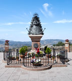 Ronda Madonna. Decorated with potted landscape of mountains in the background on a sunny day Royalty Free Stock Photos