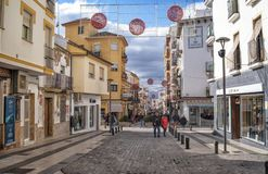 Ronda main street with christmas decorations, Andalucia, Spain stock photo