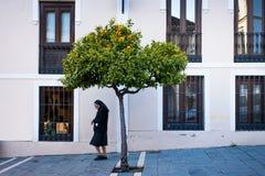 Ronda Malaga landskap, Andalusia, Spanien - mars 25, 2008: nunna som går i staden Arkivbilder