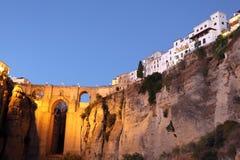 Ronda no crepúsculo. A Andaluzia, Spain Imagens de Stock