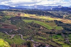 Ronda panorama and canyon view, Spain royalty free stock photos