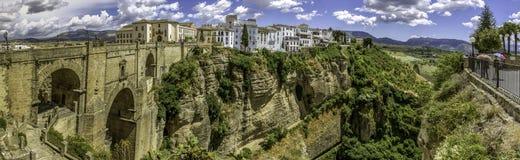 Ronda Panoramic sikt över Puente Nuevo Royaltyfria Foton