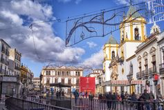 Ronda Socorro square, Andalucia, Spain stock images