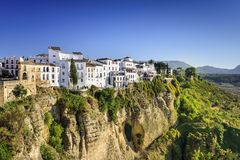 Ronda, Spain Cliffside Town. Ronda, Spain buildings on the Tajo Gorge Stock Photo