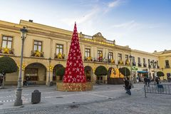 Decorated New Year tree on Plaza Espana in Ronda city, Andalusia royalty free stock images