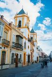 RONDA, SPAIN - FEBRUARY 04, 2014: Square Plaza Del Socorro and a. Church of Nuestra Senora del Socorro, traditional street in the south of Spain, Andalusia Royalty Free Stock Photos